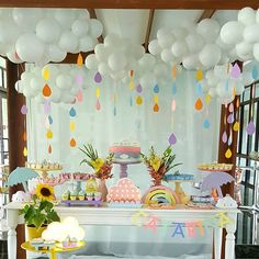Image may contain: indoor Baby Girl Shower Themes, Girl Baby Shower Decorations, Baby Shower Parties, Rainbow Birthday Party, Baby Birthday, Birthday Parties, Baby Sprinkle Decorations, Girl Birthday Decorations, Rain Baby Showers