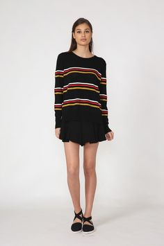moochi border sweater - spring 2016 COLLECTION Spring 2016, Black Sweaters, Cheer Skirts, Collection, Fashion, Moda, Fashion Styles, Fashion Illustrations