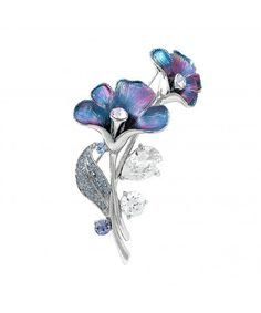 3cefd8fa5e2 Brooches & Pins,Purplish Blue Flower Brooch with Blue- Purple Austrian  Element Crystals