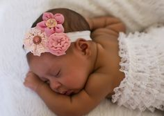 Baby Headband...Antique Pink and  Rose Vintage newborn headband..LIMITED SALE.....also sized to fit infant toddler girl teen or women