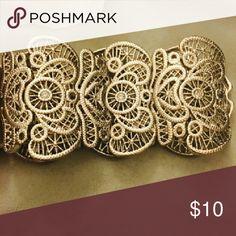 Gold colored bracelet Big Intricate bracelet Jewelry Bracelets