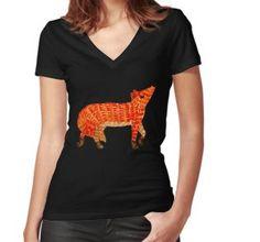 Adorable Fox Fitted V-Neck T-Shirt Chiffon Shirt, Chiffon Tops, Long Hoodie, Laptop Sleeves, V Neck T Shirt, Fitness Models, Classic T Shirts, Shirt Designs, Mini Skirts