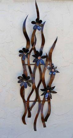 'Flowers'  Rusted steel flower sculpture