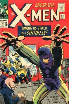 X-Men (Marvel, Condition: VG+. First appearance of the Sentinels. Jack Kirby cover, inked by Wally - Available at Sunday Internet Comics Auction. Marvel Comics, Marvel Comic Books, Marvel Art, Comic Books Art, Book Art, X Men, Comic Book Villains, Comic Book Characters, Jack Kirby Art