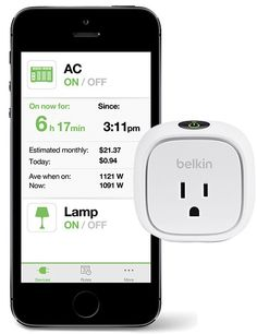 Controlling lights and home appliances remotely is a breeze with Belkin's WeMo system. A simple mobile-phone app links to Wi-Fi-enabled outlet adapters (one shown here) in your home, allowing you to turn on or off anything that is plugged into them.