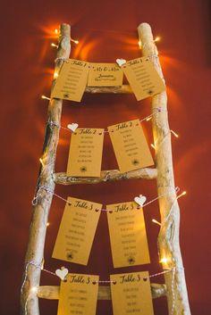 Wooden Ladder Seating Plan Chart Table Gold Sequin Outdoor Humanist Wedding http://www.emmahillierphotography.com/