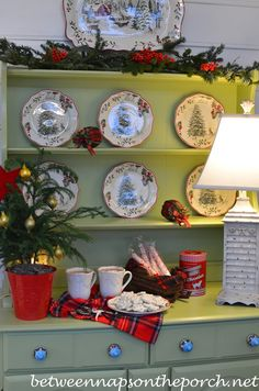 Hutch on Screened-in Porch Decorated for Christmas