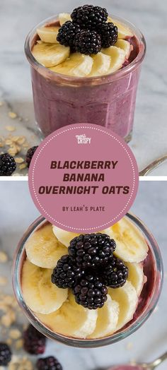 To get the smooth consistency for this blackberry and banana overnight oatmeal from Leah's Plate, you have to puree the blackberries, banana, almond milk, and vanilla in a blender. But that extra effort is totally worthwhile.