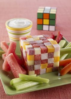 """Cute """"cube"""" appetizer for summer made w/ watermelon, 2 cheeses & Ranch dressing"""
