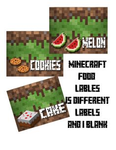 Printable Minecraft Inspired Food Tent Labels - 15 Different Labels + 1 Blank- Minecraft Table Cards - INSTANT DOWNLOAD on Etsy, $3.00