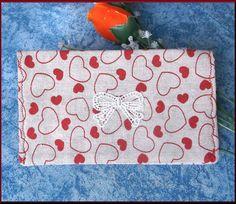 Protège chéquier en tissu lin tissu coton et applique : Porte-monnaie, portefeuilles par orkan28