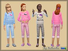 Printed pants and top for girls by bukovka at TSR via Sims 4 Updates