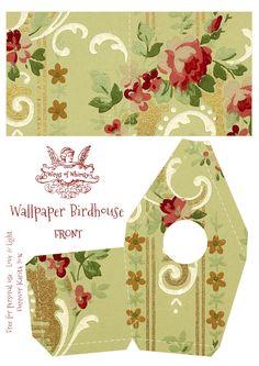 Vintage Wallpaper Birdhouse No 15