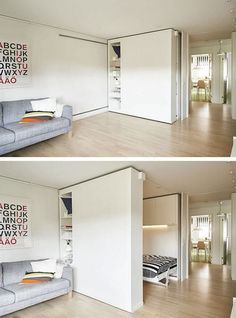 "Flexible Space, or movable walls, are changing the world of design. For those who live in very small spaces, the flexible walls offer an ideal solution for storage as well as optimal space utilization. Now, IKEA has introduced its own version of the ""wall Ikea Small Spaces, Tiny Spaces, Small Space Living, Small Rooms, Small Apartments, Living Spaces, Small Space Bedroom, Small Space Design, Living Rooms"