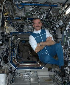 """Fantastic photographs of Earth and life-in-space by Canadian astronaut Hadfield. Floating free, buoyed up even more by my smile :) """" Nasa Space Pictures, Spaceship Craft, Nasa Iss, Life In Space, Chris Hadfield, Astronauts In Space, Smile Photo, International Space Station, Space And Astronomy"""