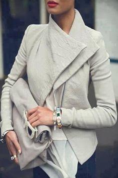 Chic Sólido Cuero Color PU chaqueta de manga larga