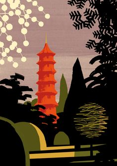 The Pagoda at The Royal Botanic Gardens, Kew - by Guy Allen London Poster, London Art, Up To The Sky, Garden Illustration, Kew Gardens, Gcse Art, Freelance Illustrator, Woodblock Print, Art Sketchbook