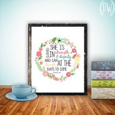 Bible verse art print printable nursery scripture wall art print, poster decor - Proverbs 31 inspirational quote floral INSTANT DOWNLOAD