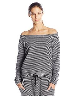 Mara Hoffman Womens Off the Shoulder Sweatshirt BlackWhite XSmall *** Find out more about the great product at the image link.(This is an Amazon affiliate link)
