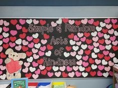 Bulletin board showing random acts of kindness.