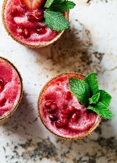 The Oaxacan Slushie: Mezcal, Strawberry, Lime, and Beet Juice, Chili powder - Via Artful Desperado
