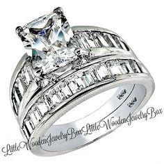 4.5 CT Sterling Silver Princess Diamond cut Engagement Ring Wedding Set Womens 5