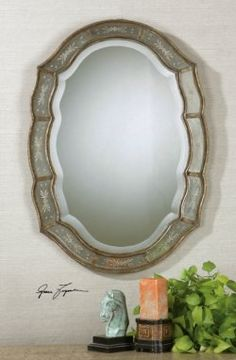 fifi wall mirror, narrow inner and outer frame finished in heavily antiqued gold leaf with etched, antique mirrors