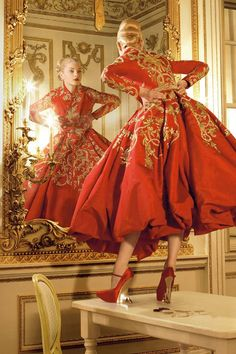 "Jessica Stam in Christian Dior Fall 2007 Haute Couture for ""Golden Years"" by Corinne Day, Vogue UK October 2007"