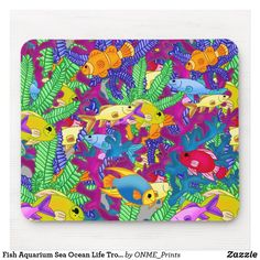 Shop Fish Aquarium Sea Ocean Life Tropical Mouse Pad created by ONME_Prints. Gifts For Coworkers, Gifts For Friends, Stoner Gifts, Office Gifts, Office Decor, Beach Activities, Leopard Animal, Custom Mouse Pads, Sea And Ocean