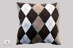 "18"" Square Knitted Sweater Brown Argyle diamond Design Pillow Cover,  #TheCableCrew"