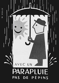 A trusty umbrella .. Vintage French advertising print http://vintagevenus.com.au/products/vintage_poster_print-pr573