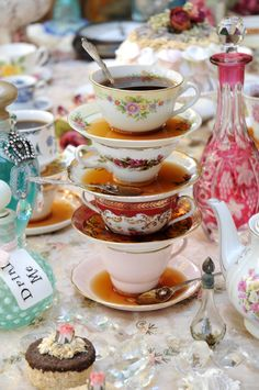 a mad-hatter tea party.Oh I want to do this..gotta find some tea lovers in AL