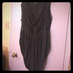 Trendy plus size dress Heather gray dress with faux black leather belt Dresses