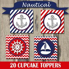 Nautical Navy & Red Cupcake Toppers 2 Circles / by M2MPartyDesigns