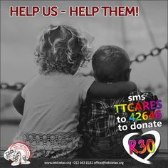 Tekkie Tax benefits 32 Child Protection Organisations. Help Us help them and make a difference in a child's life! SMS TTCARES to 42646 to make a R30 donation. Your donations will provide food, shelter, care and most of all PROTECTION!  #tekkietax #makethecirclebigger #takehands #lovingtekkies #VirtualHug #1000000Hugs