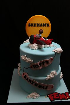 Airplane Cake Little Boy Cakes, Cakes For Boys, Sweet Cakes, Cute Cakes, Disney Planes Cake, Fondant Cakes, Cupcake Cakes, Travel Cake, Torte Cake