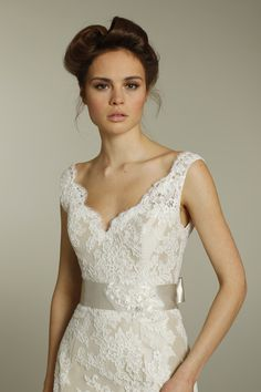 Romantic ivory v-neck lace wedding dress with champagne ribbon sash