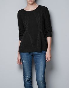 CABLE KNIT SWEATER - Knitwear - TRF - ZARA United States