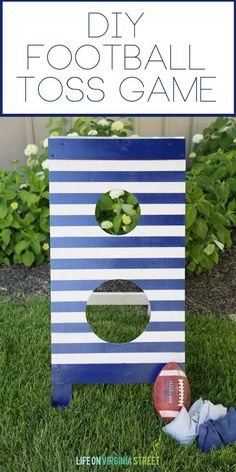 DIY Football Toss Outdoor Game via Life On Virginia Street - Free plans and full tutorial included! Projects For Kids, Diy Projects, Sewing Projects, Life On Virginia Street, Outdoor Games For Kids, Indoor Games, Indoor Activities, Outdoor Play, Summer Activities