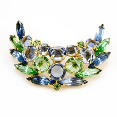 Vintage Blue and Green Crescent Shaped Brooch - Possible Unsigned Schreiner piece via Etsy