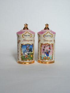 Pair of Disney Lenox Spice Jars Daisy Duck and Donald by LaaLoo