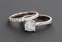 Cushion Cut 14k White Gold Accent Solitaire Engagement Rings