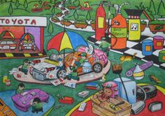 'Recycling Car' by Stevany Audrey, Aged 6, Indonesia: 4th Contest, Bronze #KidsArt #ToyotaDreamCar