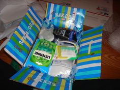 """""""Toiletry care package. Never mix food with soapy items!""""  Great ideas!  Notes from the original pinner: Baby wipes, mouth wash, dental picks, face lotion, deodorant, body wash, after shave balm, non-aerosol shaving cream (can't send the cans), face wash, floss, toothpaste, listerine strips."""