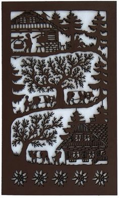 Painting of a climb to the Meadow, a poya, cut wood. Painted with acrylic paint with water, non-toxic. Inspired by the art of Swiss traditional Art Plastique, Traditional Art, Paper Cutting, Quilling, Animal Print Rug, Decoupage, Mandala, Wood, Crafts