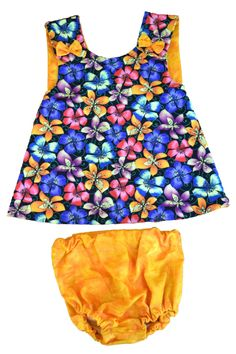 8-12 Months: Retro Flowers, Pinafore Dress and Bloomers Set