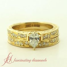 Shank Wave Set || Pear Shaped Diamond Wedding Set With White Diamonds In 14K Yellow Gold