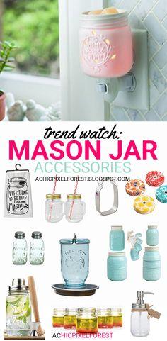 Trend Watch: Mason Jar Accessories! Mason Jar Art, Mason Jar Kitchen, Mason Jar Gifts, Jar Crafts, Bottle Crafts, Decor Crafts, Bottles And Jars, Glass Jars, Mason Jar Projects