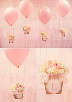 A glittering pink balloon for that memorable baptismal themed party ideas!