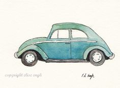 Original Watercolor and Ink Car Illustration 5 x 7 by GrowCreative